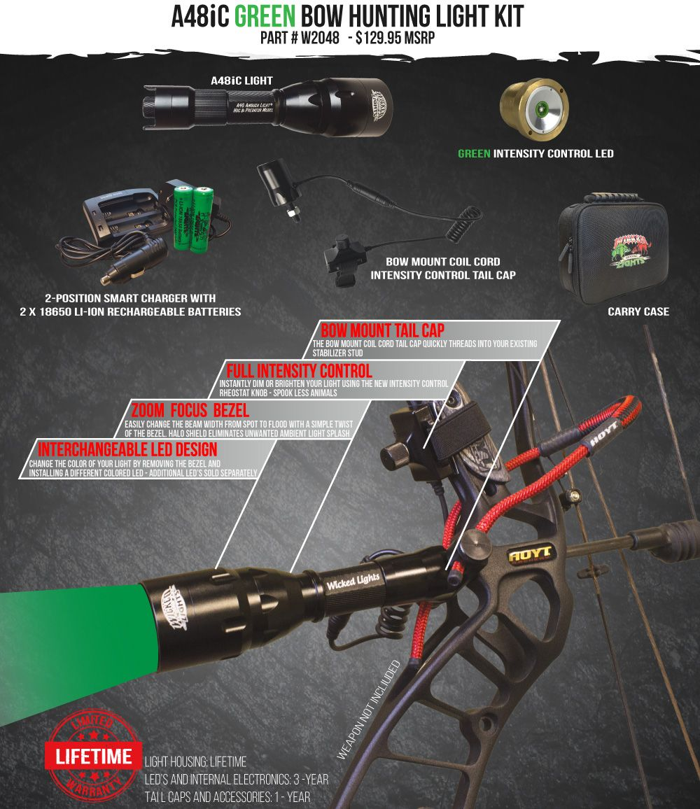 Wicked Lights A48iC Green Bow hunting Light Kit
