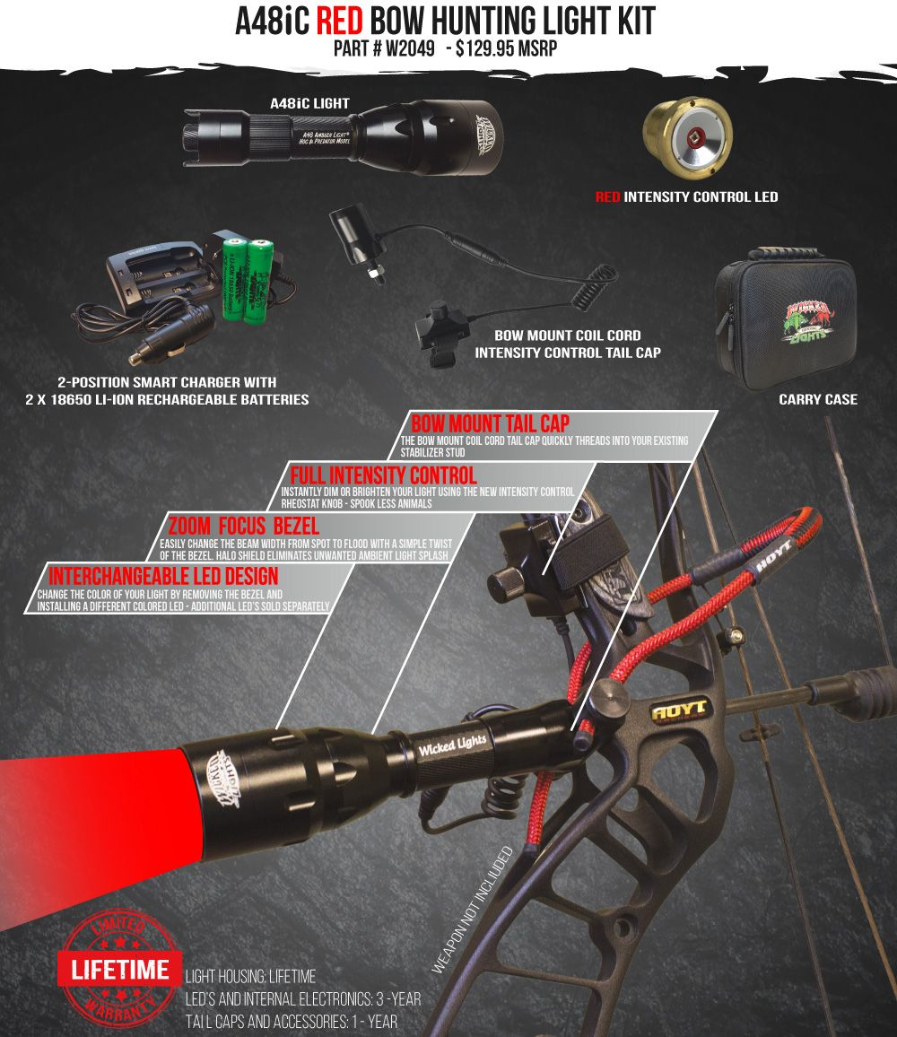 Wicked Lights A48iC Red Bow hunting Light Kit
